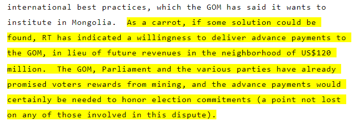 """As a carrot, if some solution could be found, RT has indicated a willingness to deliver advance payments to the GOM... The GOM, Parliament and the various parties have already promised voters rewards from mining, and the advance payments would certainly be needed to honor election commitments (a point not lost on any of those involved in this dispute)."""